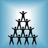 People Pyramid Group Teamwork Success on Blue Royalty Free Stock Image
