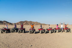 People on Quad bikes. In the desert Royalty Free Stock Images
