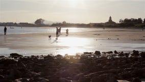 People in Quatro-Aguas East beach, at Tavira. Algarve. stock video footage