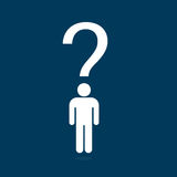 People Question icon Illustration. People icon standing with question symbol on his head Royalty Free Stock Image