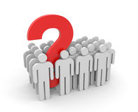 People with question. Teamwork metaphor. Teamwork metaphor. Separated on white Stock Photo
