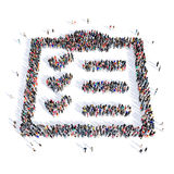 People questionnaire shape 3d. Large and creative group of people gathered together in the shape of a questionnaire image. 3D illustration, isolated, white Royalty Free Stock Image