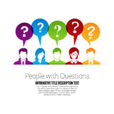 People with Questions. Vector illustration of color people profile with question marks talk bubbles Royalty Free Stock Photography