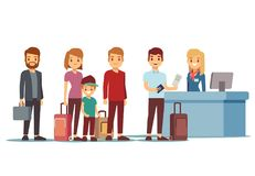 People queue in airport at registration desk. Vacation and travel vector concept. Queue people tourist to check desk illustration Royalty Free Stock Photo
