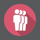 People queue flat icon. Round colorful button, circular vector sign with long shadow effect. Flat style design Stock Images