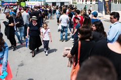 People queue to buy tickets for the third day of East European Comic Con Royalty Free Stock Photography