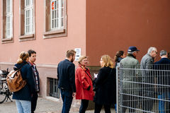 People queue to vote in the first round of the French presidenti Royalty Free Stock Photo