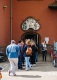 People queue to vote in the first round of the French presidenti. STRASBOURG, FRANCE - APR 23, 2017: People queue to vote in the first round of the French stock photos