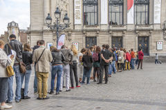 People Queuing Stock Photo