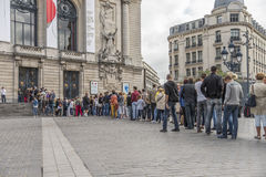 People Queuing. Lille is a city in the North of France. It is the principal city of the Lille Métropole, the fourth-largest metropolitan area in France after Stock Photography