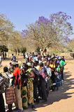 People queuing to vote at polling station. Zambia general elections 2011 royalty free stock image