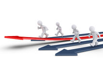 People race on arrows and one is rising Stock Image