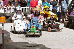 People Race Miniature Motorized Vehicles At Maker Fair Stock Photos