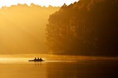 People on raft at Pang Ung lake royalty free stock image