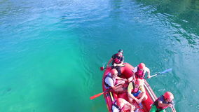People rafting on waterfalls of Una river in Bosnia stock footage