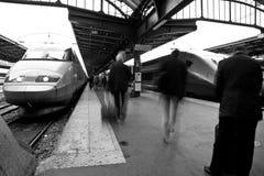 People railway station b&w Royalty Free Stock Photo