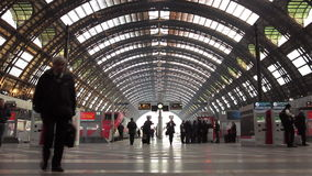 People in railway station. People in Milano Centrale railway station in Milan, Italy stock video footage