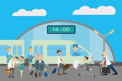 People at the railway station. To Board the train. vector illustration Stock Images