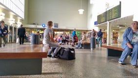 People on railway station Stock Photography