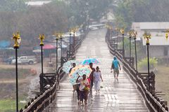 People in the rain Stock Photo