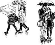 People in the rain Stock Images