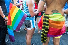 People with rainbow objects and flags. MADRID, SPAIN - JULY, 6: People wearing and carrying rainbow objects and flags at the Gay Pride parade. Near 1,200,000 stock image