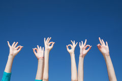 People raise hands in air Royalty Free Stock Photos