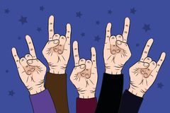 People raise rock hands up in concert with on purple color background. Vector illustration. EPS stock illustration