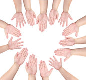 People raise their hand to volunteer in heart shap royalty free stock images