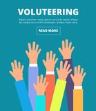 People raised hands, voting arms. Volunteering, charity, donation and solidarity vector concept. Illustration of together and charity volunteer, donation and Stock Images