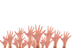 People raised hands on white background stock photos