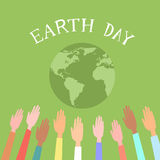 People Raised Up Hands World Earth Day Green Globe Stock Photography