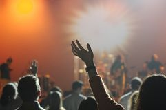 People Raising Hands on Concert Royalty Free Stock Images