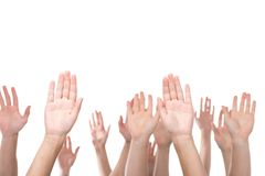 People raising hands. Cropped shot of people raising hands isolated on white Stock Photos
