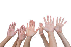 People raising their hands in the air Stock Photos