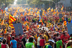 People at rally demanding independence for Catalonia Royalty Free Stock Photo