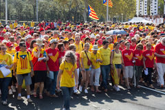 People at rally demanding independence for Catalonia in Barcelo Royalty Free Stock Images