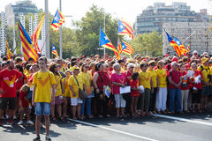 People at rally demanding independence for Catalonia Royalty Free Stock Photography