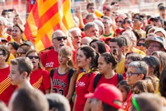 People at rally demanding independence for Catalonia Royalty Free Stock Photos