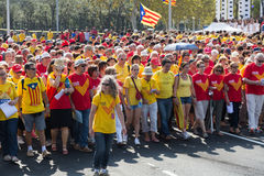 People at rally demanding independence for Catalonia Stock Photo