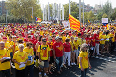 People  at rally demanding independence for Catalonia Stock Photography