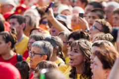 : People at rally demanding independence for Catalonia Stock Images