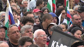 People at a rally in Sofia, Bulgaria stock video