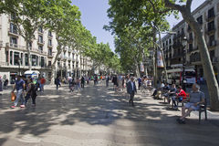 People on Ramblas in Barcelona, Spain royalty free stock photos