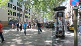 People on Ramblas street in Barcelona stock video