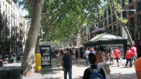 People on Ramblas street in Barcelona stock video footage