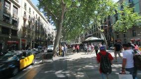 People on Ramblas street in Barcelona stock footage