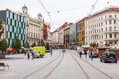 People on Rasinova street in Brno Stock Photo