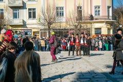 People in razlog square in Bulgaria Stock Images