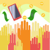 People reaching for money. Vector people reaching for money stock illustration